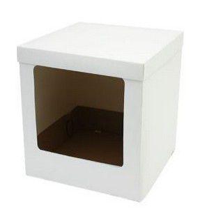Caixa Bolo Alto Branca com Visor 23 x 23 x 25 cm