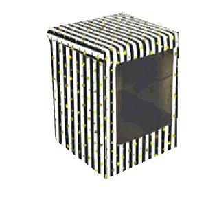 Caixa Bolo Alto Decorada com Visor 26 x 26 x 30 cm