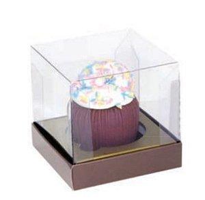 Caixa Individual para Cupcake Marrom com Ouro Pct c/10