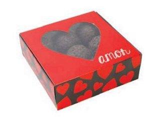 Caixa Coração C/ Visor 9 Doces Amor Pct C/ 10