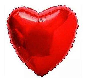 Balão Metalizado Coração 45cm Vermelho