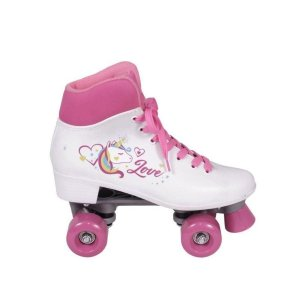 Patins Quad 4 Rodas Love Unicórnio Branco Bel FIx