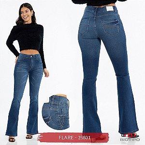 Calça Jeans Biotipo Feminina Flare Cós Médio Com Elastano - 25801