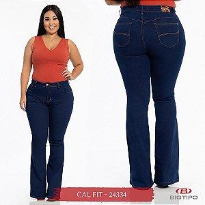 Calça Jeans Biotipo Feminina Flare Cós Alto Com Elastano - 24334