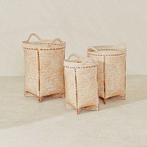 Cesto Bambu Rattan White Wash
