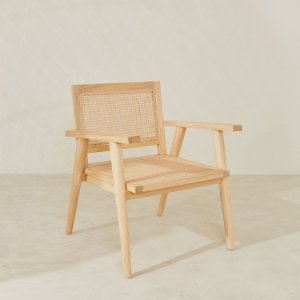 Cadeira Madeira e Rattan c/Braço Quadrada