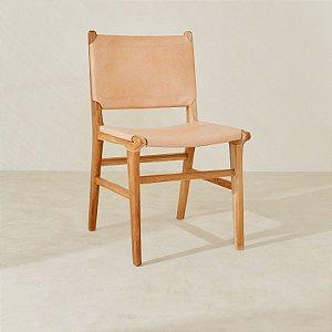 Cadeira Madeira s/ Braço Couro