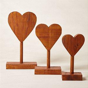 Escultura Madeira Coração c/ Base