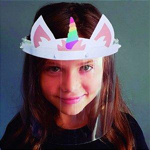 Face Shield Infantil Unicórnio Protetor de Rosto Transparente Máscara
