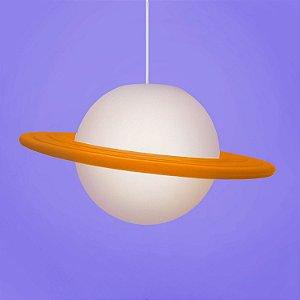 Luminária Pendente Lustre Saturno Laranja