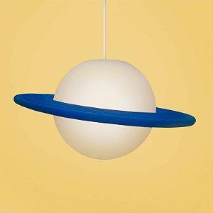 Luminária Pendente Lustre Saturno Azul