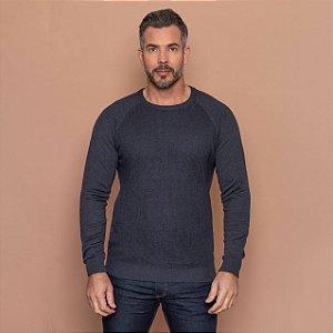 Blusa Tricot Masculina Texturizada Raglan
