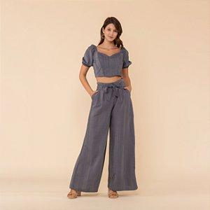 Calça Pantalona Listrada Feminina