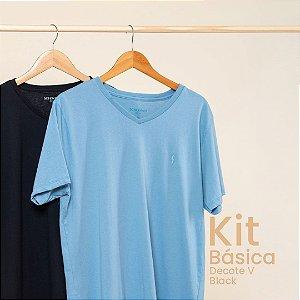 Kit Camiseta Masculina Basica Gola V Black