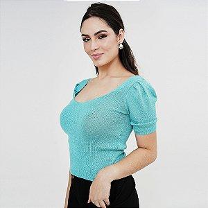 BLUSA FEMININA DE TRICOT MANGA BUFANTE