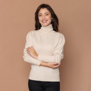 Blusa Gola Alta Tricot Feminina