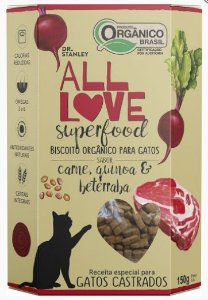 Biscoito Orgânico All Love Superfood Gatos Carne 150g Sabor Carne, Quinoa & Beterraba