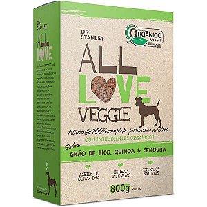 Ração All Love Veggie 800gr Sabor Grão De Bico, Quinoa & Cenoura