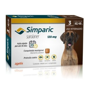 Antipulgas Simparic 120mg Cães 40-60 Kg - 3 Comprimidos