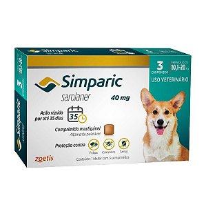 Anti Pulgas Simparic 40mg C/3comp Cães 10,1 A 20 Kg