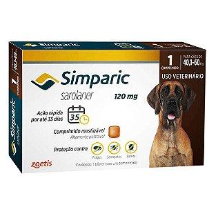 Antipulgas Simparic 120mg Cães 40,1-60 Kg - 1 Comprimido
