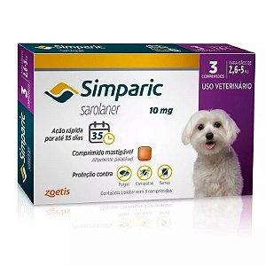 Simparic 10mg Antipulgas 2,6 A 5kg C/3 Comprimidos