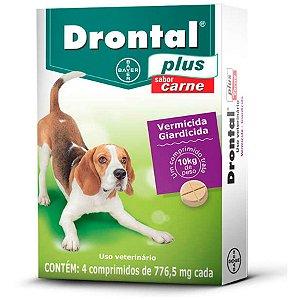 Vermífugo Drontal Plus Carne - Cães10kg - 4 Comp