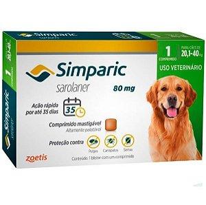 Antipulgas Simparic 80 Mg P/ Cães 20,1 A 40 Kg 1 Comprimido