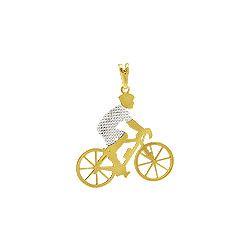 Pingente Homem Andando com Bicicleta com Rodio
