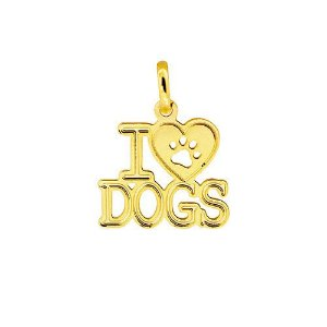 "Pingente PETS ""I LOVE DOGS"""