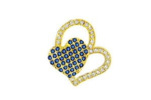 Conjunto de Pingente Corações com Zirconias + Gargantilha 40cms tipo Figaro