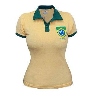 Camisa Retrô Feminina Brasil - Polo Amarela