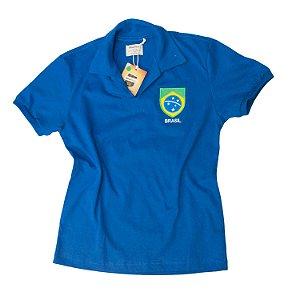 Camisa Retrô Juvenil Brasil - Polo Azul
