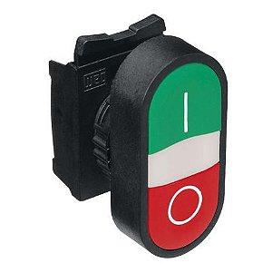 """Botão Duplo Faceado Vermelho e Verde (""""I"""" e """"O""""). Contatos 1NA + 1NF. Furação 22mm. Grau de proteção IP66."""