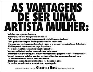 PÔSTER AS VANTAGENS DE SER UMA ARTISTA MULHER - GUERRILLA GIRLS