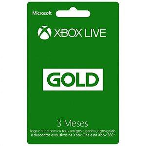 Cartão Presente Xbox Live Gold - 3 meses