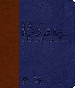 BÍblia Brasileira De Estudo : Marrom / Azul