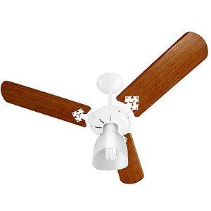 Ventilador Teto Venti Delta Light Branco 03 Pás Mogno