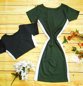 Vestido Midi Canelado Listra Lateral