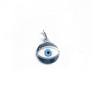 Pingente Medalha Olho Grego Azul