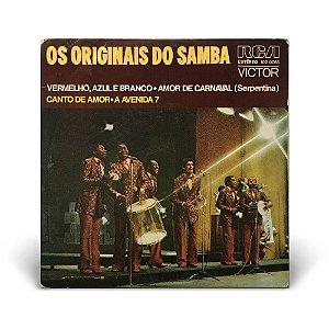 """7"""" Os Originais do Samba - Vermelho, azul e branco / Amor de carnaval / Canto de amor / A avenida 7"""
