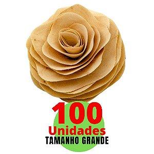 Flores em Madeira Tamanho Grande 14cm - 100 unidades