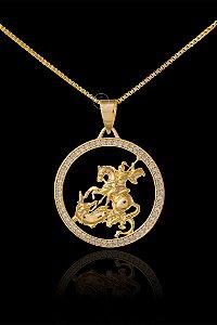 Pingente  São Jorge Redondo Cravejado - 2,9 X 3,1cm - Banhado a ouro 18k