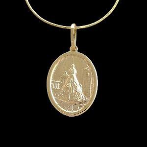 Pingente  Nossa Senhora Basílica Oval - 2,1 X 3,1cm - Banhado a ouro 18k