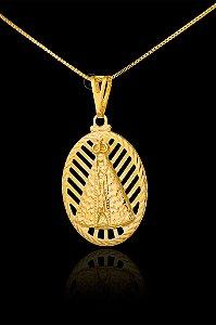 Pingente  Nossa Senhora Oval Alto Relevo - 2,5 X 3,5cm - Banhado a ouro 18k