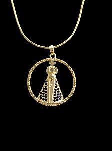 Pingente  Nossa Senhora Cravejada Vazada - 2,5 X 2,7cm - Banhado a ouro 18k