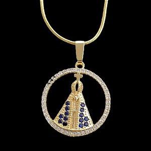 Pingente  Nossa Senhora Cravejada Vazada com Zircônia - 2,3 X 2,5cm - Banhado a ouro 18k