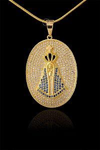 Pingente  Nossa Senhora Cravejada Importada - 2,8 X 4cm - Banhado a ouro 18k