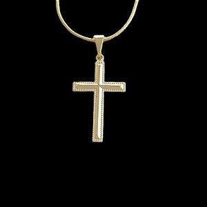 Pingente Cruz Reta - 1,6 X 2,8cm - Banhado a ouro 18k