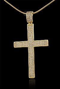Pingente Cruz Cravejada - Importada - 3,3 X 6,3cm - Banhado a ouro 18k